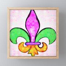 Fleur De Lis Pastel Tiny Love Hearts Framed Mini Art Print