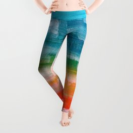 Ejaaz Haniff Colorful Abstract Acrylic Painting 'Lost Paradise' Leggings