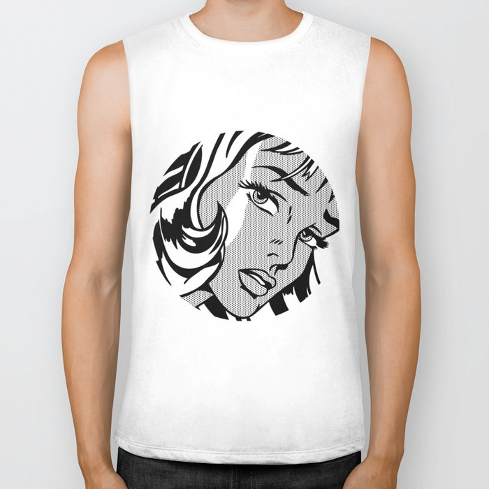 Girl with Hair Ribbon B&W Biker Tank