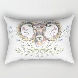 Aries zodiac symbol. Ram's watercolor portrait with wildflowers ornament. Rectangular Pillow