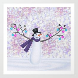 snowman, chickadees, and ornaments Art Print