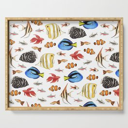 Tropical Fish on White - pattern Serving Tray