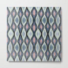 Organic pattern teal salmon Metal Print