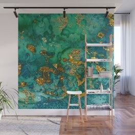 Malachite and Gold Glitter Stone Ink Abstract Gem Glamour Marble Wall Mural