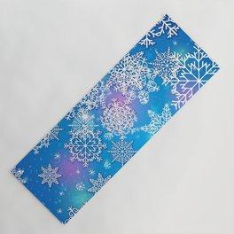 Snowflake background blue purple Yoga Mat