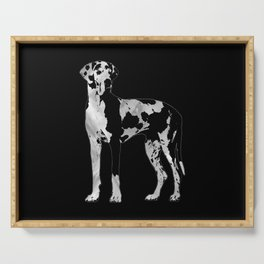 Harlequin Great Dane  -pearl and silver Serving Tray