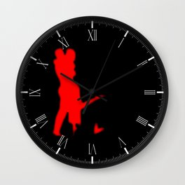 Lovers In Red Background Wall Clock