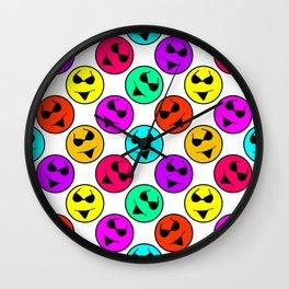 Smiley Bikini Bright Neon Smiles on White Wall Clock