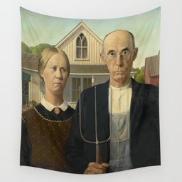 American Gothic Oil Painting by Grant Wood Wall Tapestry