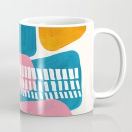 Mid Century Modern abstract Minimalist Fun Colorful Shapes Patterns Pink Teal Yellow Ochre Bubbles Coffee Mug