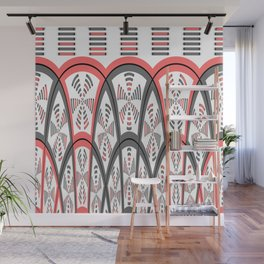 Abstract red and grey Wall Mural