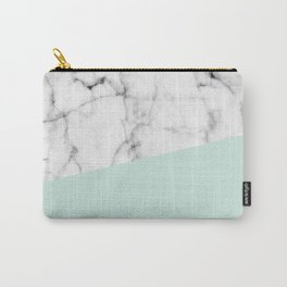 Real White marble Half pastel Mint Green Carry-All Pouch