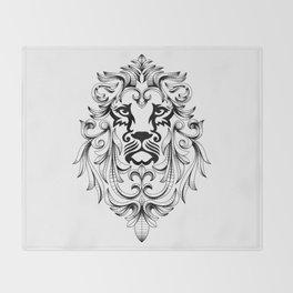 Heraldic Lion Head Throw Blanket