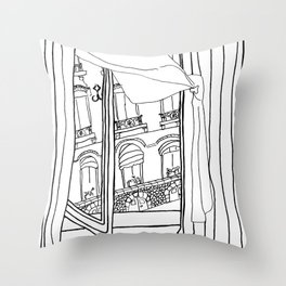 Window View in France  //  ink drawing Throw Pillow