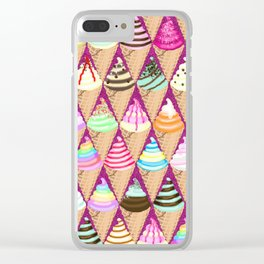 Colourful Ice Creams Diamond Pattern Clear iPhone Case