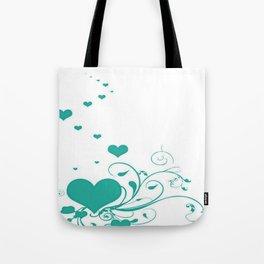 Aquamarine Valentine Hearts On A White Background Tote Bag
