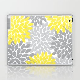 Yellow Gray Flower Burst Petals Floral Pattern Laptop & iPad Skin