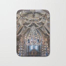 Sedlec Ossuary Chandelier Photo Art Print, Bone Church Bath Mat