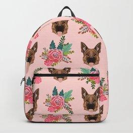 German Shepherd florals bouquet dog breed pet friendly pattern dogs Backpack