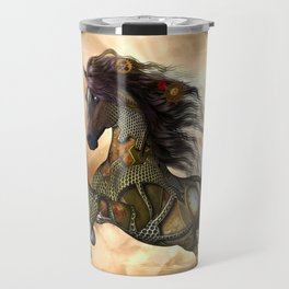 Steampunk, awesome steampunk horse Travel Mug