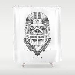 American Pug Football Shower Curtain