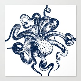 Octopus Nautical Navy and White Canvas Print