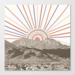 Summerlin Mountain // Abstract Vintage Mountains Summer Sun Vibe Drawing Happy Wall Hanging Canvas Print