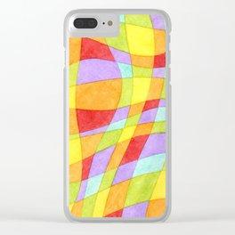 Candy Rainbow Plaid Clear iPhone Case