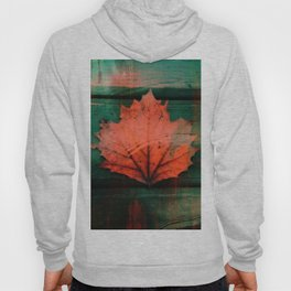 Rusty red dried fall leaf on wooden hunter green beams Hoody