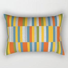 Orange, Green, Blue, Gray / Grey Stripes, Nautical Maritime Rectangular Pillow