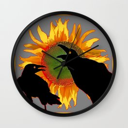 Two Contentious Crows/Ravens & Yellow Sunflower Grey Art Wall Clock
