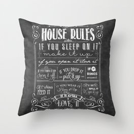 House Rules Retro Chalkboard Throw Pillow