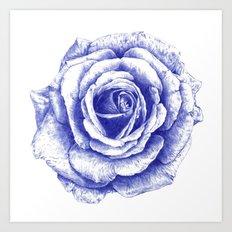 Ballpoint Blue Rose Art Print