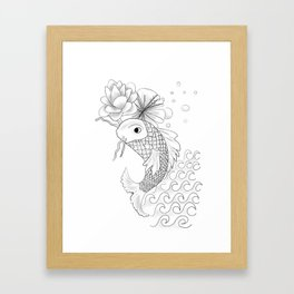 Black and White Japanese Koi Fish Design by AshGrayDoll Framed Art Print