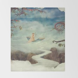 Little girl on the swing in the  fantastic country in sky  Throw Blanket