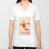 ironman V-neck T-shirts featuring Ironman by Popol
