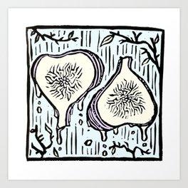 Fig Twins - linoprint Art Print