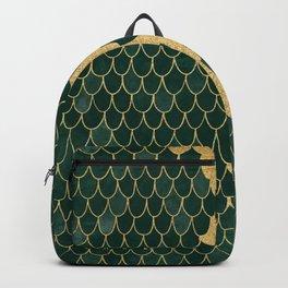 Mermaid Fin Gold Streak // Emerald Green Glittery Scale Watercolor Gradient Bedspread Home Decor Backpack