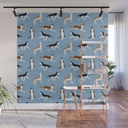 Husky Pattern (Blue Gray Background) Wall Mural