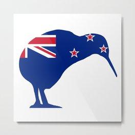 New Zealand Flag With Kiwi SIlhouette Metal Print
