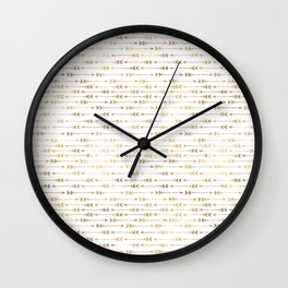 White & Gold Arrow Pattern Wall Clock