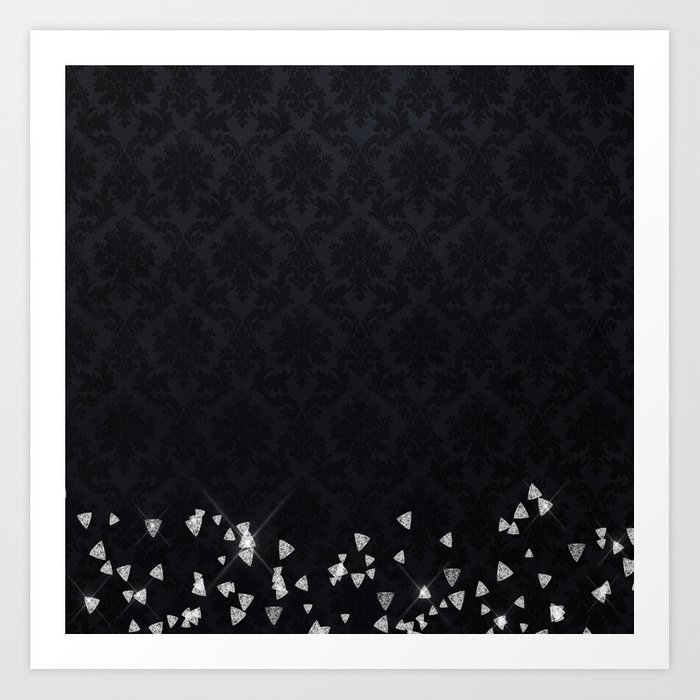 Glitter Diamonds on black damask - Luxury design Art Print