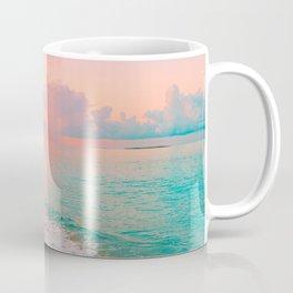 Beautiful: Aqua, Turquoise, Pink, Sunset Relaxing, Peaceful, Coastal Seashore Coffee Mug