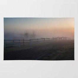 Horses in morning fog Rug