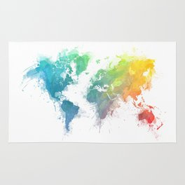 World Map splash 1 Rug