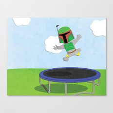 SW Kids - Boba Fett Jump Canvas Print