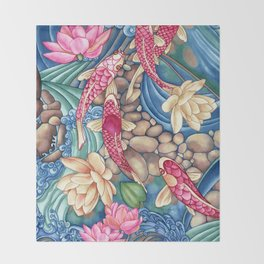 Koi Pond Throw Blanket