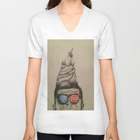 jfk V-neck T-shirts featuring JFK Sundae by Hannah McKee