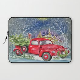 Red Truck With Christmas Tree Laptop Sleeve