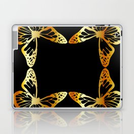 Golden butterflies flying against black Laptop & iPad Skin